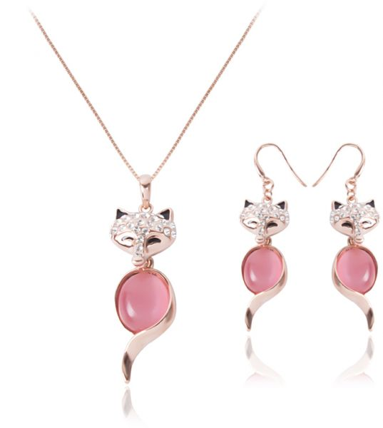 Rose Gold Cute Fox Pendant Pink Crystal Cat Eye Stone Animal Pendant Jewelry Set