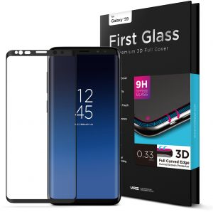 VRS Design Samsung Galaxy S9 First Glass Premium 3D Full Cover Screen Protector - Curved Edge Tempered Glass