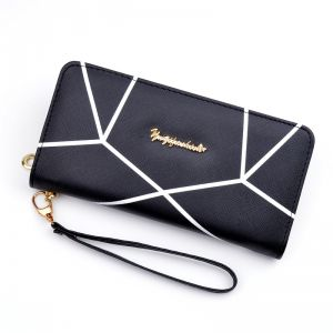 c18f8d32784f Geometric Pattern Long Pu Leather Wallet Fashion Large Capacity Zipper Purse  Casual ID Card Cash Holder Ladies Clutches