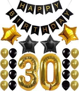 1 Set 30th Birthday Party Decoration Kit Happy Banner Balloons 32inch Foil Number 30 Years Old Supplies