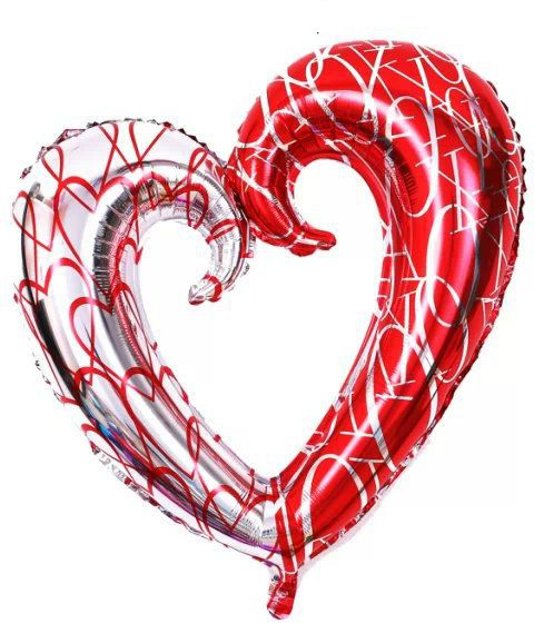 Large 43 Inch Hollow Heart Shape Foil Balloon Helium Balloons Valentines Day Propose Wedding Birdal Party Bedroom Decor Photo Supplies