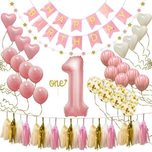 First Birthday Decorations With Rose Pink And Gold Party Metallic Supplies Helium Or Air Filled Latex Number Foil Balloons Banners Digital Balloon