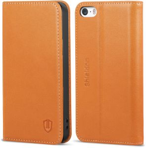 iPhone 5 Case,iPhone 5s/SE leather case, SHIELDON Genuine Leather Wallet Case and Folio Book Cover case compatible with iPhone 5/5s/SE Standing ID Credit ...