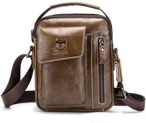 39d5098ca50e BULL CAPTAIN Mens Shoulder Bag Vintage Fashion Genuine Leather Cross Body  Satchel Bag For Business Casual Travel Brown