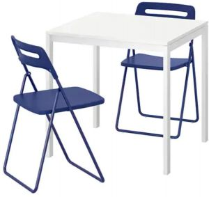 Amazing Melltorp Nisse Table And 2 Folding Chairs White Dark Blue Lilac Squirreltailoven Fun Painted Chair Ideas Images Squirreltailovenorg