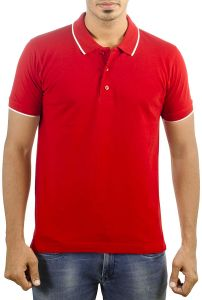 a682c7e52f0a6 Neuve Carbon Ni-Red Polo T-Shirts for Men With White Tipping on Collars and  Sleeves