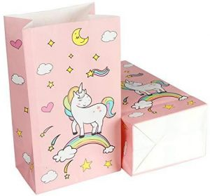 24pcs Unicorn Paper Bags Thank You Stickers For Kids Birthday Party Decorations Pink Favors Gift Rainbow Supplies