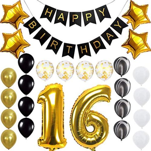 Happy 16th Birthday Banner Ballons Set For Sweet 16 Years Old Party Decoration Supplies Gold Black