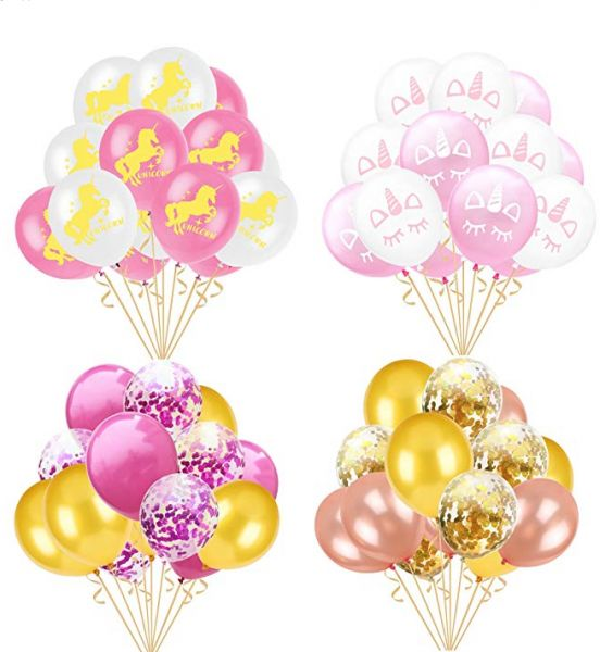 60 PCS Balloons Unicorn Party Decorations 12 Inches Golden Purple Paper ConfettiRose Gold Pink Latex For Girls Baby Shower Birthday