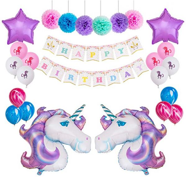 Unicorn Balloons Decorations Themed Birthday Party Kit 1 Pcs Happy Bunting Banner 6 12 Paper Pom Poms 2