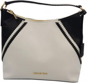58da74e6373d Michael Kors Leather White Black Karson Large Shoulder Bag
