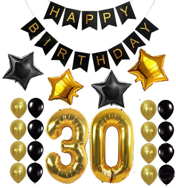 32inch Foil Number 30 Years Old Party Supplies 30th Birthday Decoration Kit Happy Gifts Banner Balloons