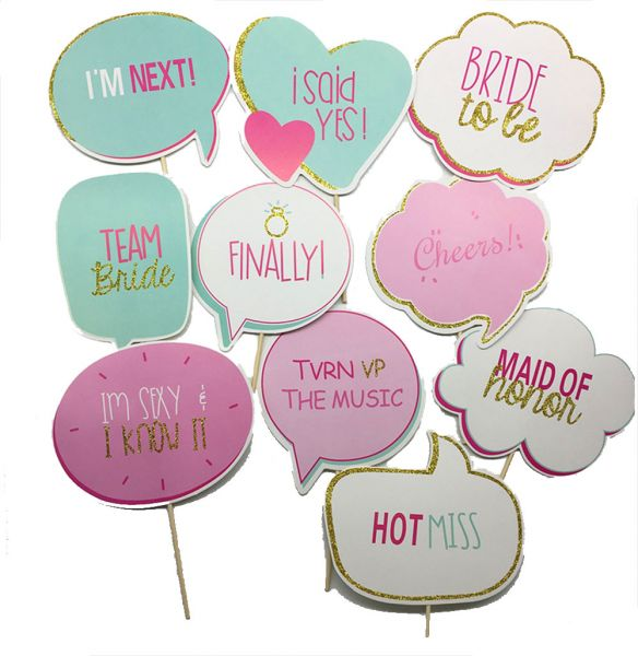 10pcs Bride To Be Party Mask Photo Booth Props Diy On A Stick