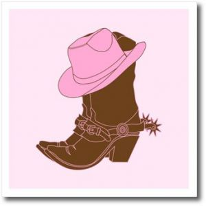 01e6ad63f129f 3dRose ht 119421 3 Cowgirl Boots N Pink Cowgirl Hat Iron on Heat Transfer