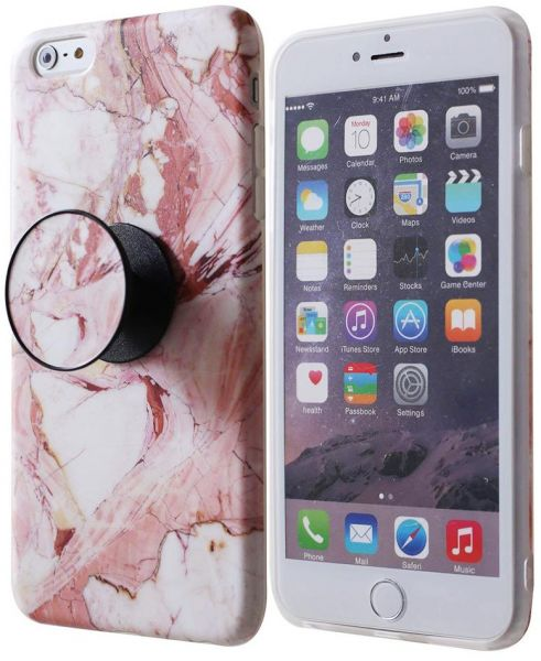 big sale 36f61 972f7 Marble mobile phone cover with pop socket For iphone 6 Plus & 6s Plus -  Pink & White