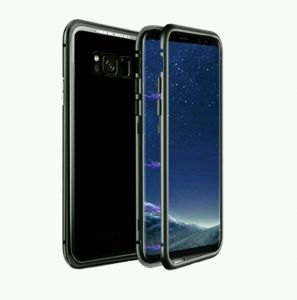 Samsung galaxy s8 cover/case, magnet with aluminium metal housing bumper case,99.9 percent crystal clear, 9H tempered glass back case, Clear with black