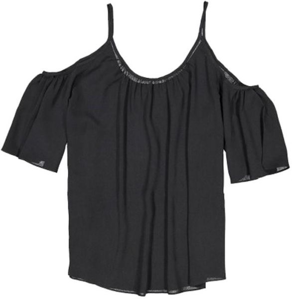 1d50285d340c35 French Connection Black Round Neck Tank Top For Women