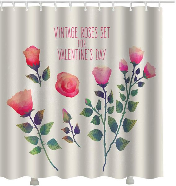 LANGRIA Rose Shower Curtain 3D High Grade Waterproof And Anti Mold