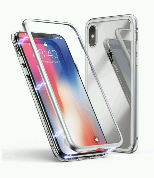on sale 1c78a 014ef Apple iPhone xs max (6.5inch) cover/case, magnet with aluminium metal  housing bumper case,99.9 percent crystal clear, 9H tempered glass back  case, ...