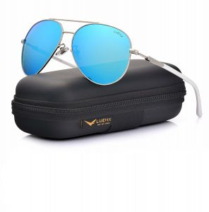 f1a2193953b LUENX Aviator Sunglasses Womens Polarized Mirror with Case - UV 400  Protection 60MM