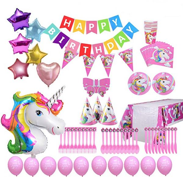 126PCS Set Unicorn Party Supplies For Birthday Decorations Bundle Of Tableware Happy Banner Large Rainbow Unicorns Balloon Latex Balloons