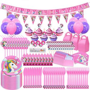 145pcs Set Unicorn Birthday Party Decorations Supplies Kit Pawliss 145ct Favor Boxes Candles Balloons Cupcake Toppers Knifes Forks Spoons Plates