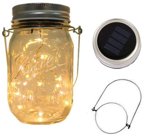 Led Outdoor Wall Lamps Outdoor Sun Glass Mason Jar Light With Integrated Solar Panel And Leds For Lighting Outdoor Light Decoration Home Decoration Led Lamps