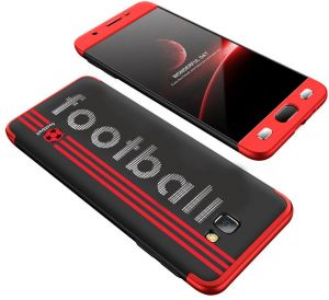 Samsung Galaxy J7 Prime/J7 Prime2 /On7 Prime case, Fashion ultra Slim Gkk 360 Football 3d printed cover Case - Red & Black