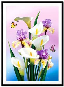 fc30a093a1 40X54cm 5D DIY Calla Lily Diamond Painting Butterflies Flowers Cross Stitch  Diamond Embroidery Mosaic Diamonds Wall Stickers Home Decoration