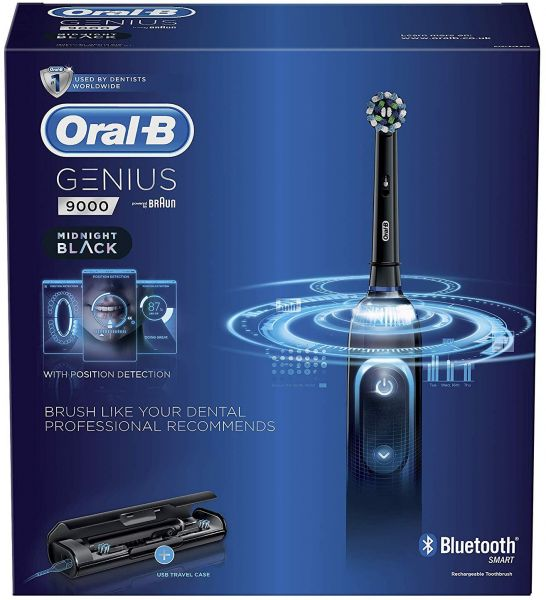 6dafc0c6b468d4 Oral-B Genius 9000 CrossAction Electric Toothbrush Rechargeable Powered By  Braun - Midnight Black   Souq - UAE