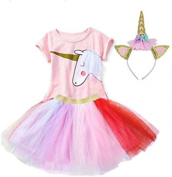 34d17986 Girls Casual Birthday Party Supplies Unicorn Dresses Pink Tops,Multicolored  Tutu Skirt and Unicorn Headband Outfits | Souq - UAE