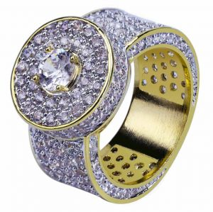 Fashion diamond-studded men s gold-plated ring Men s fashion jewelry Gold-plated  micro-inlaid zircon ring Hip-hop hipster jewelry 10US 17eef774bbd2