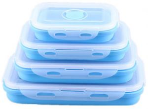 Set of 4 Silicone Food Storage Containers, Silicone Collapsible Lunch Bento Box, Microwave, Dishwasher and Freezer Safe (Blue)