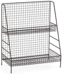 2-Tier Organizer Rack, Wire Basket Storage Container Countertop Shelf for Kitchenware Bathroom Cans Foods Spice Office and More - Black