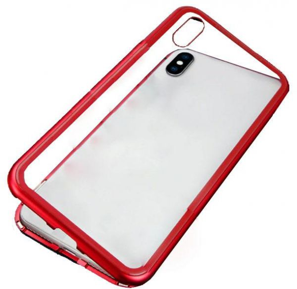 new products 19fd1 b54ed iphone XR Case 360 degree full cover 2 pieces metal frame magnetic tempered  glass back case - Red