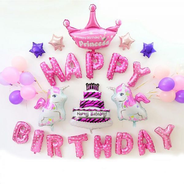 Unicorn Kids Birthday Party Multi Color Balloons Letter Banquet Arrangement Family Or Friends Hotel Decoration