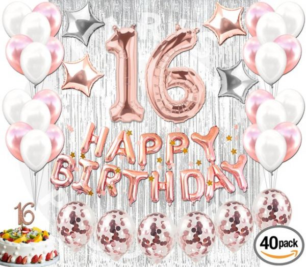 Rose Gold 16th Birthday Party Decorations Balloons Supplies Happy Confetti