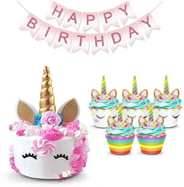 Unicorn Cake Topper Rainbow Cupcake Wrappers Kit Set Includes Horn Ears Eyelashes Plus Happy Birthday Banner Decor