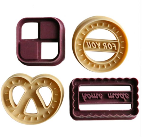 4PCS Cartoon Denmark Baking Mould Biscuit Mould Cookie Cutter 3D  Cartoon Biscuits Mold DIY Tools for Baking Claying Plunger