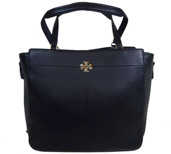 Tory Burch Women S Leather Ivy Side Zip Tote Bag Black