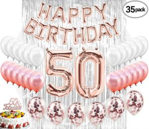 50th Birthday Decorations Party Supplies 50 Cake Topper Banner Rose Gold Confetti Balloons Her Silver Curtain Backdrop Props Photos Bday