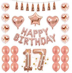 40inch Rose Gold 17th Number Balloon Seventeen Confetti Banner Star Heart Foil Tassel Garland Birthday Party Decoration