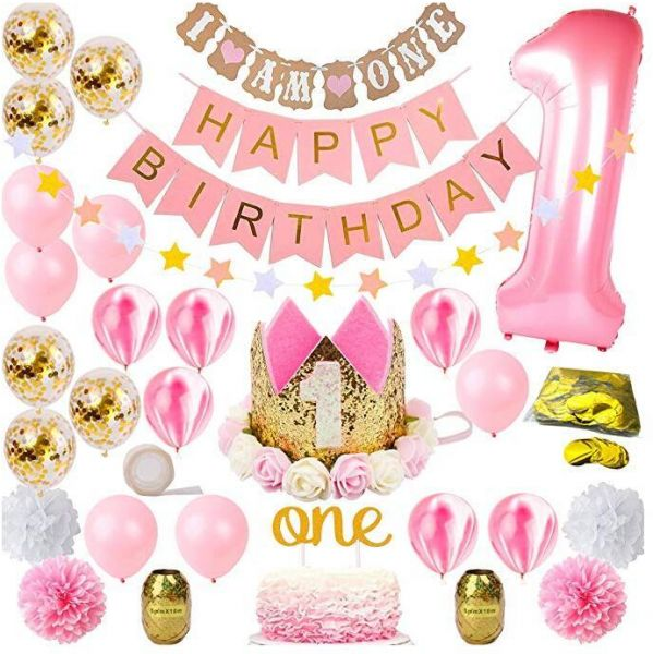 Party 1st Birthday Decorations For Girl Mega Bundle Pink And Gold Girls Theme Kit Set First Bday Tiara Crown Hat One Cake Topper Foil Confetti