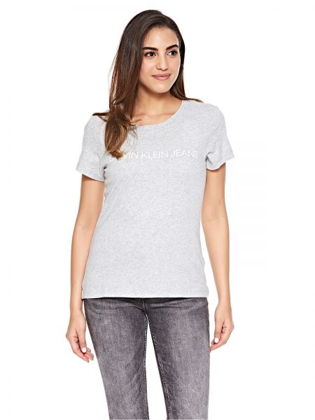 1f81a2c7be6fc Calvin Klein Jeans Light Grey Round Neck T-Shirt For Women
