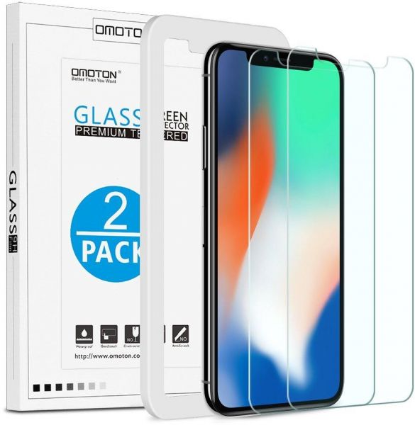 best service b031f 3279e iPhone Xs / iPhone X 5.8 inch Screen Protector [2 Pack],OMOTON Premium  Tempered Glass With Anti Scratch, No Bubbles, High Definition, 9H Hardness,  ...