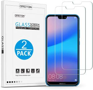Huawei P20 Lite Screen Protector [2 Pack],OMOTON Huawei P20 Lite Tempered Glass Screen Protector with [9H Hardness] [Crystal Clear] [Bubble Free]