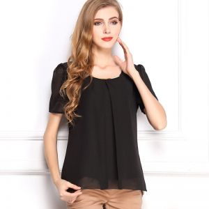 b47c77a8cf0924 Y D round neck solid pattern chiffon material short sleeve blouse for women  black color