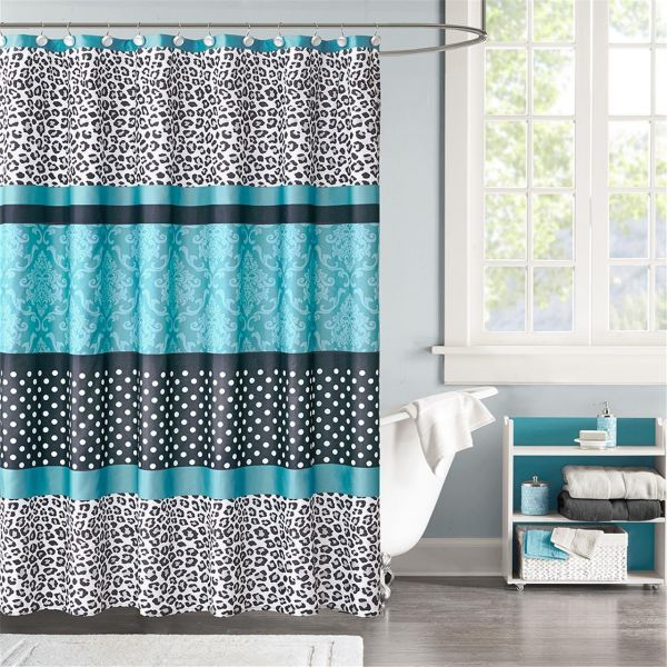 Mi Zone Chloe Stripes Teal And Black Shower Curtain Casual Shower