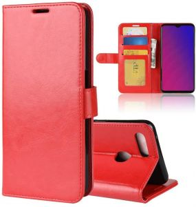 Oppo F9 Wallet case Oppo F9 Flip case Classy Slim Leather Wallet ID Credit Card Slot Holder for Oppo F9 RED