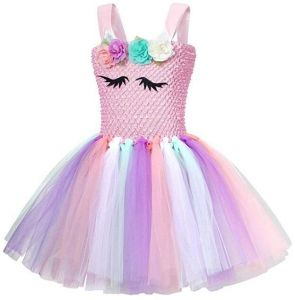 2d18f19ecf3 3-10 Y Fancy Kids Unicorn Tulle Dress for Girls Flower Girl Princess Dresses  Wedding Party Costumes